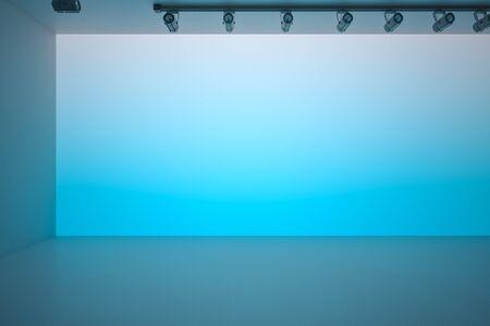 Blue gradient blank copyspace wall in spacious hall with blue ceiling and floor. 3D Rendering Stock fotó