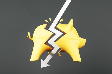 Crisis concept with white arrow hitting yellow piggy bank at dark background. 3D Rendering 写真素材
