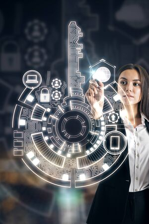 Businesswoman using creative digital key interface on dark background with icons. Access, technology and innovation concept. Double exposure
