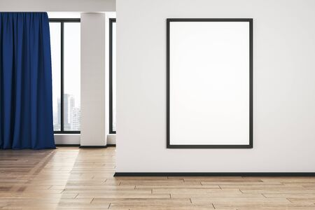 Blank white mock up poster on white wall in modern living room with wooden floor and blue curtain. 3D Rendering Stockfoto