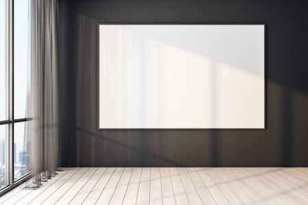 Blank white poster on black wall in modern empty room with big windows and wooden floor, mock up. 3D Rendering