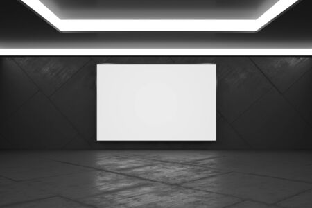 Blank white poster in monochrome style empty exhibition hall with concrete floor, mock up. 3D Rendering