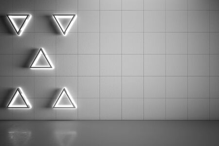 Blank mock up grey wall with modern five triangle lights and concrete floor. 3D Rendering