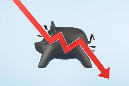 Recession concept with red arrow hitting black piggy bank at blue background. 3D Rendering 写真素材