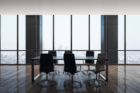 Luxury meeting room interior with panoramic city view. Workplace and company concept. 3D Rendering