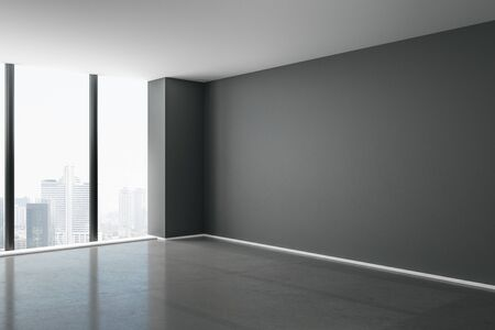 Blank grey mock up wall in modern spacious hall with concrete floor, big window and city view. 3D rendering