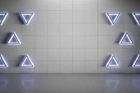 Blank mock up grey wall with modern blue triangle lights and gloss concrete floor. 3D Rendering
