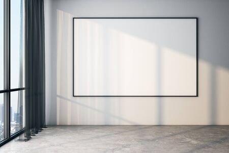 Blank white poster on white wall in modern empty room with big windows and concrete floor, mock up. 3D Rendering Stockfoto
