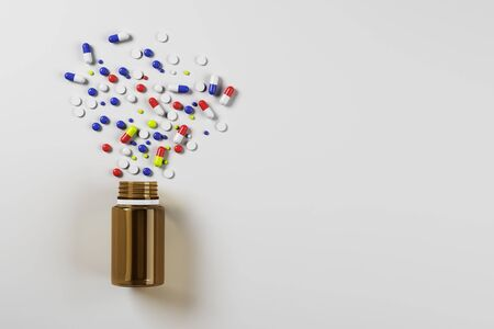 Bright spilt pills and tablet bottle on white surface background. Medicine and illness concept. 3D Rendering Banco de Imagens