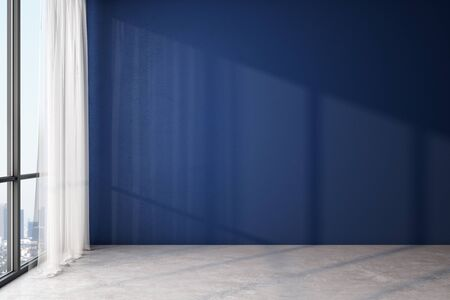Modern light empty room with blank blue wall, wooden floor and big window with city view. 3D Rendering