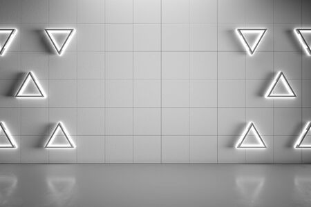 Blank mock up grey wall with modern triangle lights and gloss concrete floor. 3D Rendering Фото со стока