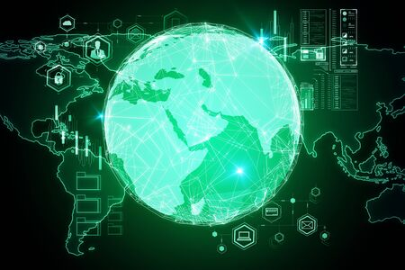 Global communication concept with digital screen, computer icons and world map template at green background. 3D Rendering