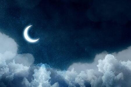 Night picture with bright moon above clouds at starry sky. 3D rendering