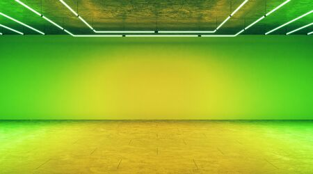 Minimal concept with modern empty light green hall with blank wall in front. 3D Rendering