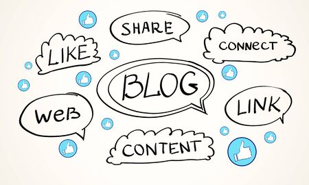 Social network and blogging concept with hand drawn words and likes at light background. 3D Rendering