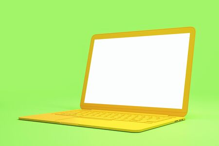 Minimal concept with blank white mock up yellow laptop screen at light green background. 3D Rendering