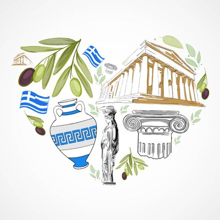 Travel concept with traditional greek symbols: olives, architecture and the statue. 3D Rendering