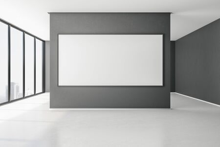 Contemporary gallery with city view and empty frame on concrete wall. Museum concept. Mock up, 3D Rendering