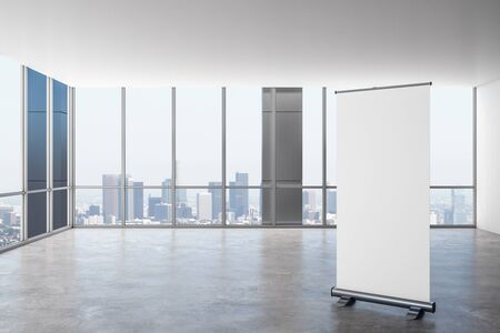 Modern empty office interior with empty banner, panoramic city view and daylight. 3D Rendering