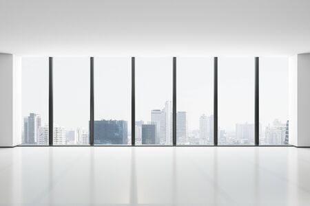 City skyscrapers view from glass window from light spacious hall. 3D Rendering