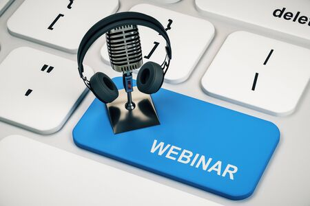 Close up of white keyboard with mic and headphones on blue webinar button. Online education concept. 3D Rendering