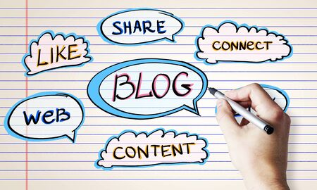 Blogging and social network concept with hand with pen and words at notebook sheet background. Фото со стока