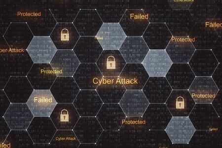 Digital crime and internet protection concept with lock icons in cells. 3D Rendering Stock Photo