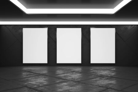 Blank white posters in monochrome style empty exhibition hall with concrete floor, mock up. 3D Rendering Фото со стока