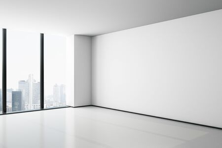 Blank white mock up wall in empty modern office hall with concrete floor, big window and city view. 3D rendering
