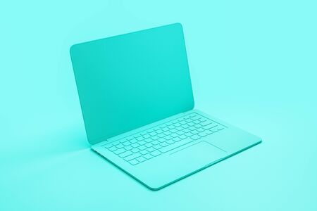 Minimal concept with single material tuquoise laptop at abstract tuquoise background. 3D Rendering