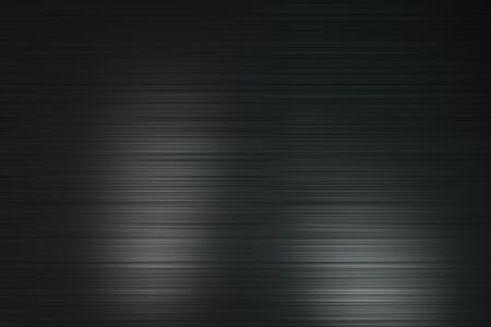 Abtsract background with black polished metal horizontal lines with light spots. 3D Rendering