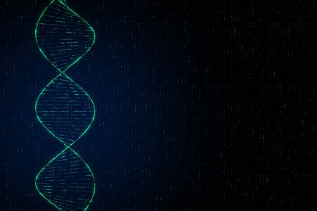 Genetics concept with digital dna spiral and abstract technology background for copyspace. 3D Rendering