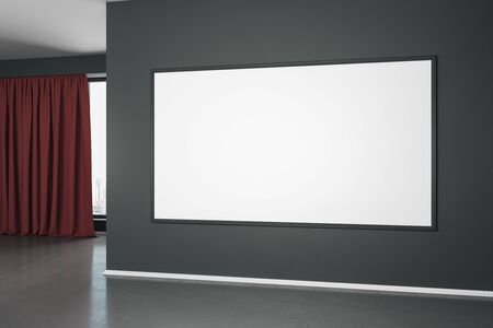 Blank white mock up poster on black wall in modern empty room with concrete floor and red curtain. 3D Rendering