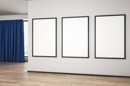 Blank white mock up posters on white wall in modern empty room with wooden floor and blue curtain. 3D Rendering