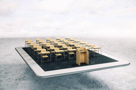 Concepto de educación y seminario web con diseño de audiencia de madera con tribuna en tableta digital blanca. Representación 3D Foto de archivo
