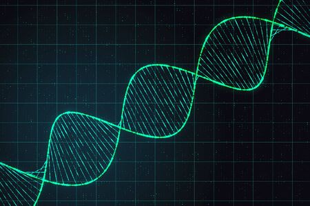 Genetics concept with digital dna spiral at abstract checkered background. 3D Rendering