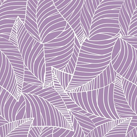 Square seamless poster with abstract leaves pattern at light lilac background. 3D rendering