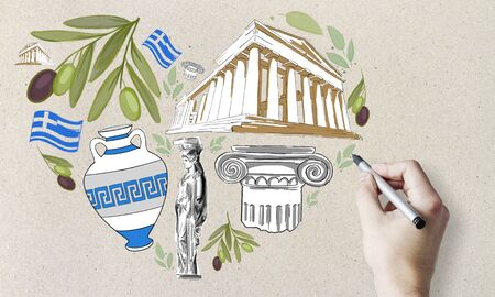 Travel to Greece concept with hand drawing traditional greek symbols: olives, architecture and the statue. Banco de Imagens