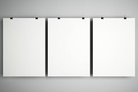 Blank white mock up minimalistic cardboard notebooks with stationery clips at light background. 3D Rendering