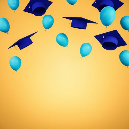 Education concept with flying blue academic caps and balloons with yellow space for your logo. 3D Rendering
