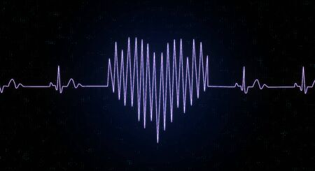 Heart and love concept with heart drawn by a pulse line at abstract dark background. 3D rendering Stock Photo
