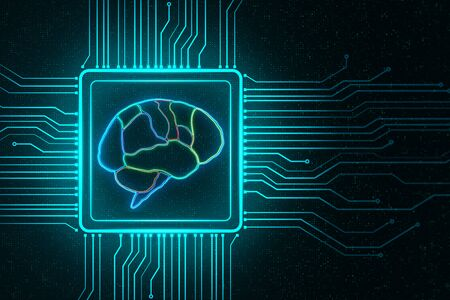 AI concept with digital brain scheme as a chip in a microchip at abstract pixel background. 3D Rendering 스톡 콘텐츠