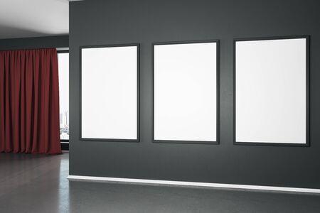 Blank white mock up poster on black wall in spacious empty room with concrete floor and red curtain. 3D Rendering Stok Fotoğraf