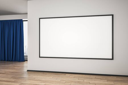 Blank white mock up poster on white wall in spacious empty room with wooden floor and blue curtain. 3D Rendering