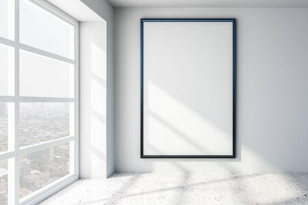 Blank white mock up poster on white wall in light modern room with concrete floor and city view. 3D Rendering