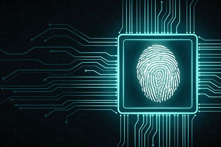 Cyber security concept with digital screen with microchip and fingerprint at dark technology background. 3D Rendering 스톡 콘텐츠