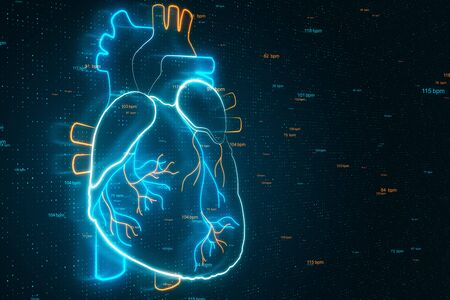 Electrocardiogram and heart health concept with digital hologram heart at technology background. 3D Rendering