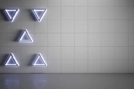 Blank mock up grey wall with modern five triangle lights and gloss concrete floor. 3D Rendering