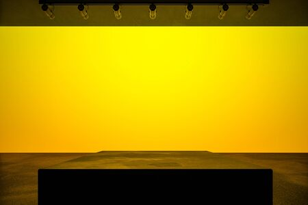 Modern style empty hall with podium in the center and blank yellow mock up lightning wall. 3D Rendering 版權商用圖片