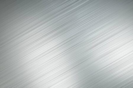 Arrière-plan abstrait avec des lignes diagonales en métal poli gris clair avec des taches lumineuses. Rendu 3D